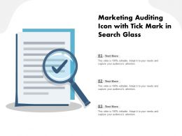 Marketing Auditing Icon With Tick Mark In Search Glass