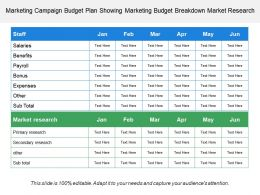 Marketing Campaign Budget Plan Showing Marketing Budget Breakdown Market Research
