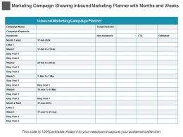 Marketing Campaign Showing Inbound Marketing Planner With Months And Weeks