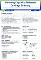 Marketing Capability Statement One Page Summary Presentation Report Infographic PPT PDF Document
