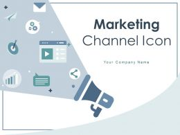 Marketing Channel Icon Newspaper Globe Megaphone Speech Bubble Currency Symbol Social Media