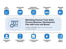 Marketing Channel Tools Sales Process Business Development Plan With Icons And Boxes