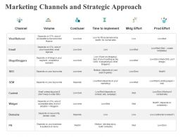 Marketing Channels And Strategic Approach Widge Ppt Powerpoint Presentation Slides