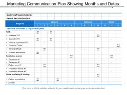 Marketing Communication Plan Showing Months And Dates