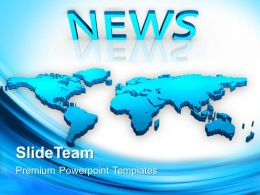 Marketing Concepts Powerpoint Templates Map With News Global Ppt