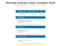 Marketing Employee Activity Completion Sheet
