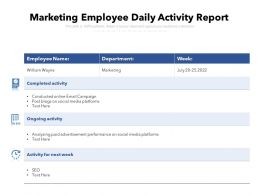 Marketing Employee Daily Activity Report