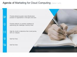 Marketing For Cloud Computing Agenda Of Computing Organizations Ppt Pictures