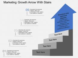 Marketing Growth Arrow With Stairs Flat Powerpoint Design