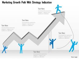 Marketing Growth Path With Strategy Indication Powerpoint Template