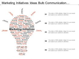 Marketing Initiatives Ideas Bulb Communication Mail Twitter Ppt