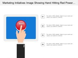 Marketing Initiatives Image Showing Hand Hitting Red Power Button