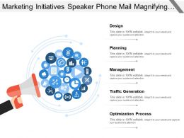 Marketing Initiatives Speaker Phone Mail Magnifying Glass