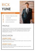 Marketing Manager Resume Sample A4 Resume Template