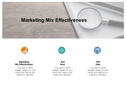 Marketing Mix Effectiveness Ppt Powerpoint Presentation Visual Aids Icon Cpb