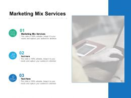 Marketing Mix Services Ppt Powerpoint Presentation Infographics Template Cpb