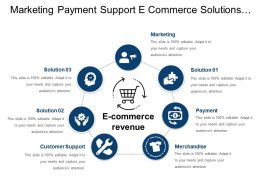 Marketing Payment Support E Commerce Solutions With Icons And Circles