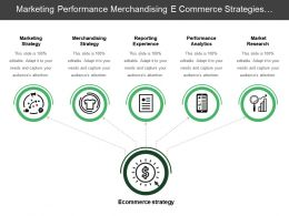 Marketing Performance Merchandising E Commerce Strategies With Circles And Icons