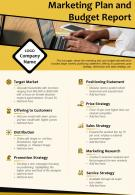 Marketing Plan And Budget Report Presentation Report Infographic PPT PDF Document