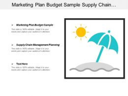 Marketing Plan Budget Sample Supply Chain Management Planning Cpb