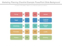Marketing Planning Checklist Example Powerpoint Slide Background