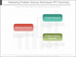 Marketing Problem Solving Techniques Ppt Summary