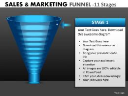 Marketing Process Funnel Diagram With 11 Stages