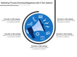 Marketing Process Showing Megaphone With 5 Text Options