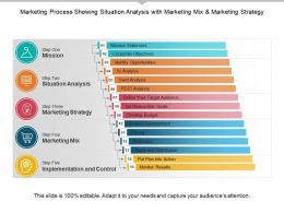 Marketing Process Showing Situation Analysis With Marketing Mix And Marketing Strategy