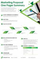 Marketing Proposal One Pager Summary Presentation Report Infographic PPT PDF Document