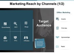 Marketing Reach By Channels Target Audience Ppt Powerpoint Presentation Visual Aids Layouts