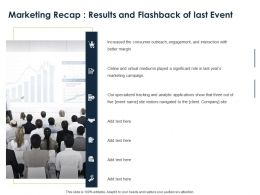 Marketing Recap Results And Flashback Of Last Event Ppt Powerpoint Presentation Slides Portrait