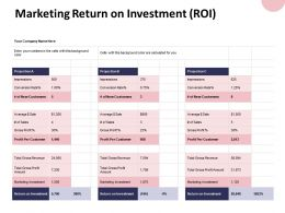 Marketing Return On Investment Roi Projection Ppt Powerpoint Presentation File Layout