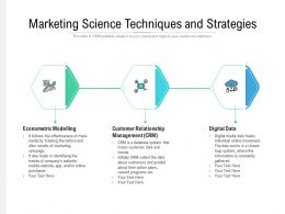 Marketing Science Techniques And Strategies