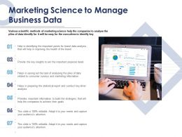 Marketing Science To Manage Business Data