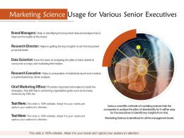 Marketing Science Usage For Various Senior Executives