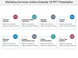 Marketing Summary Actions Example Of Ppt Presentation