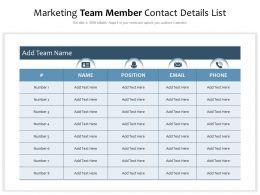 Marketing Team Member Contact Details List