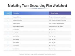 Marketing Team Onboarding Plan Worksheet