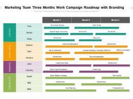 Marketing Team Three Months Work Campaign Roadmap With Branding