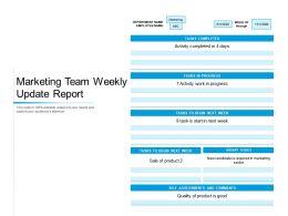 Marketing Team Weekly Update Report