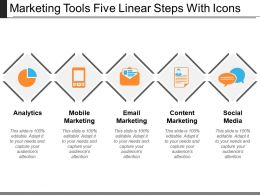 Marketing Tools Five Linear Steps With Icons