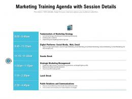 Marketing Training Agenda With Session Details