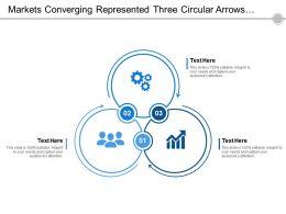 Markets Converging Represented Three Circular Arrows With Text Boxes