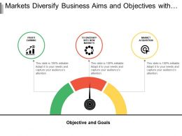 Markets Diversify Business Aims And Objectives With Indicator And Icon