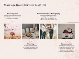 Marriage Event Services List L1602 Ppt Powerpoint Presentation Summary Designs