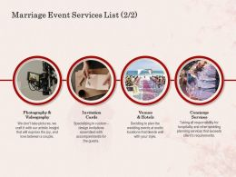 Marriage Event Services List L1603 Ppt Powerpoint Presentation Icon Slide Download