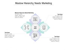 Maslow Hierarchy Needs Marketing Ppt Powerpoint Presentation Portfolio Vector Cpb