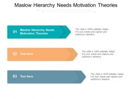 Maslow Hierarchy Needs Motivation Theories Ppt Powerpoint Presentation Ideas Designs Cpb