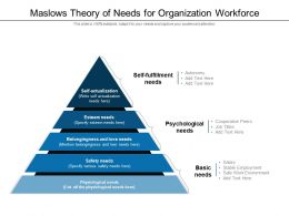 Maslows Theory Of Needs For Organization Workforce